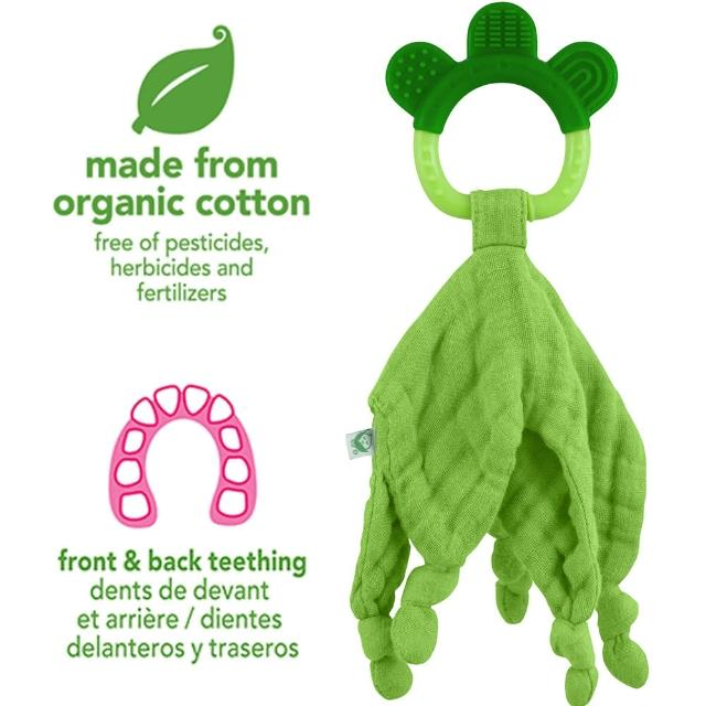 【美國 green sprouts】二合一有機細紗布安撫巾與固齒器_草綠(GS221040-2)
