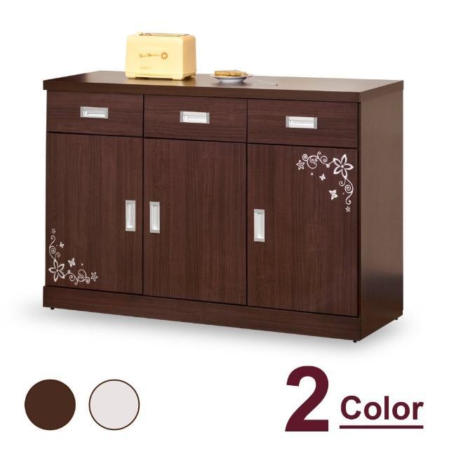 【時尚屋】肯尼士4尺碗碟櫃 CV7-55-1(兩色可選 免組裝 免運費 碗碟櫃)
