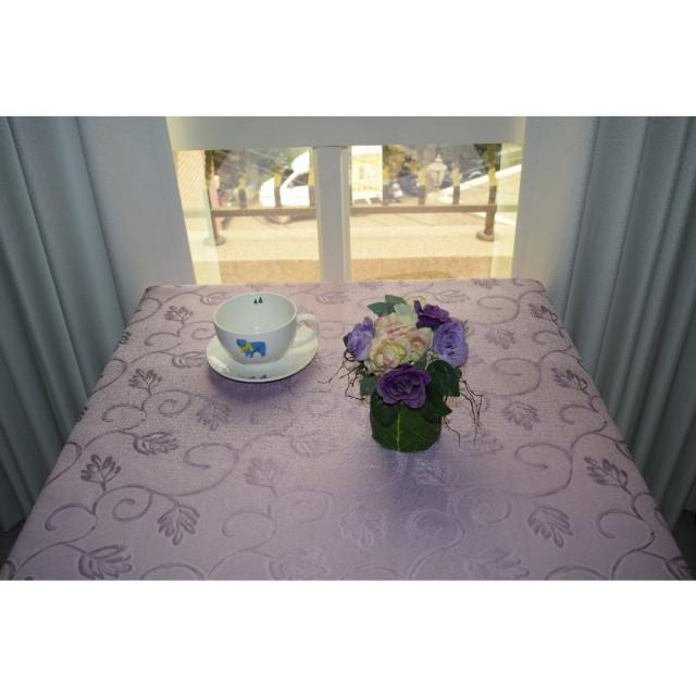 【宜欣居傢飾】挪威森林-紫-超防潑水防汙緹花布桌巾(桌布-餐巾-野餐布-桌餐墊-檯布-方型餐客桌用)