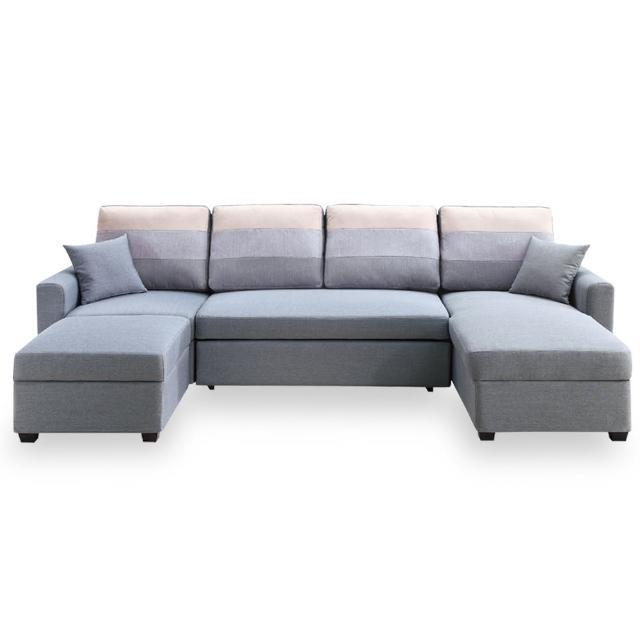 【時尚屋】丹尼絲灰色大L布沙發床組 MT7-324-2(免組裝 免運費 沙發床)