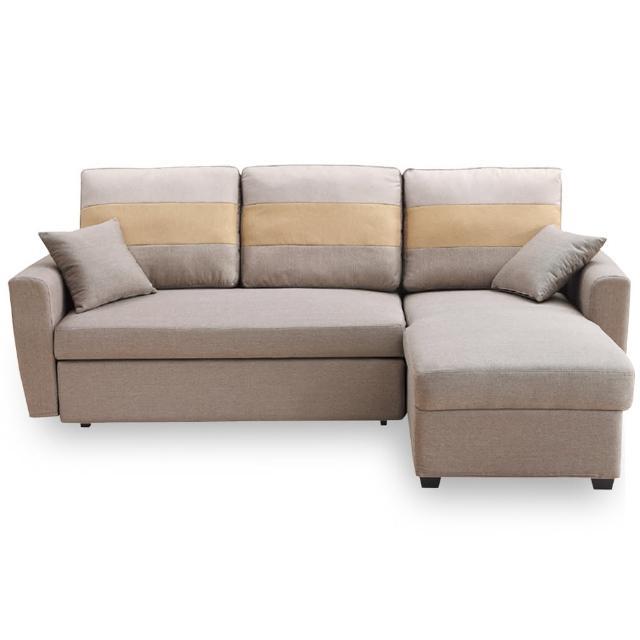 【時尚屋】丹尼絲淺咖色小L布沙發床組 MT7-325-4(免組裝 免運費 沙發床)