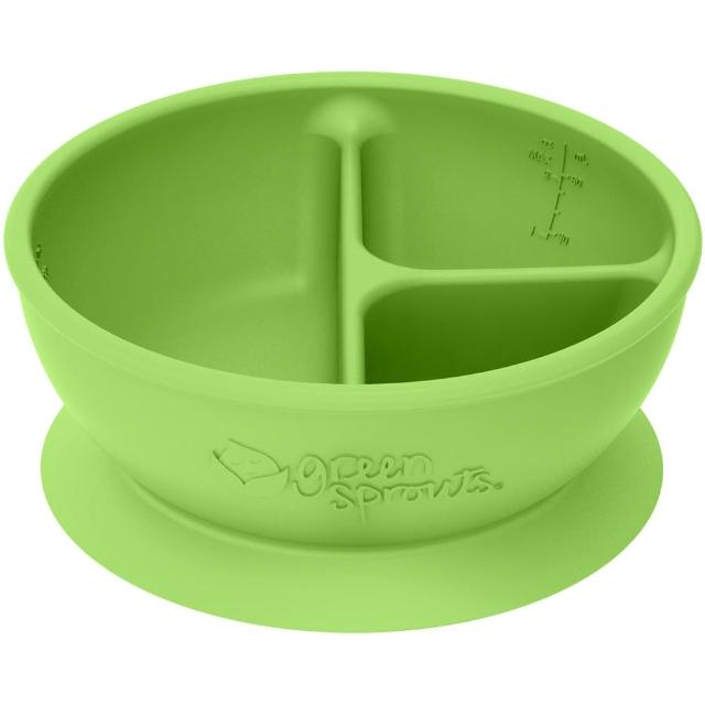 【美國green sprouts】寶寶矽膠防滑學習餐碗_草綠(GS152303-2)