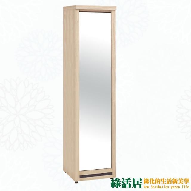 【綠活居】卡地夫  時尚1.3尺木紋收納穿衣鏡-立鏡櫃