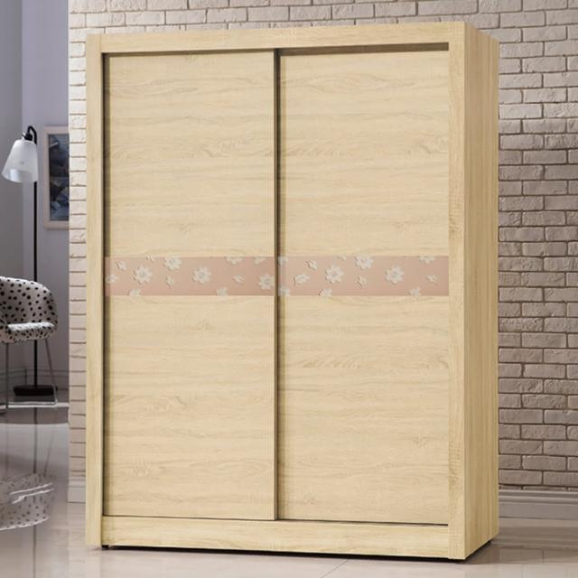 【AS】伯裏斯5尺原切拉門衣櫃-149x60x203cm