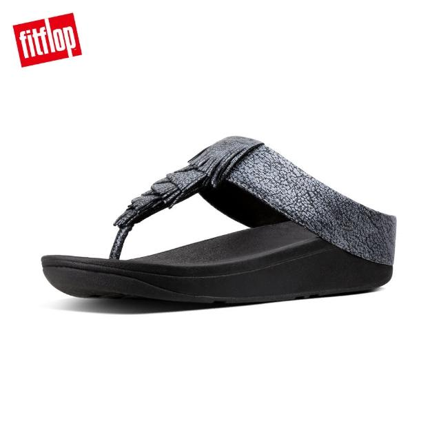 【FitFlop】CHA CHA FRINGE LEATHER TOE-THONGS(黑色)
