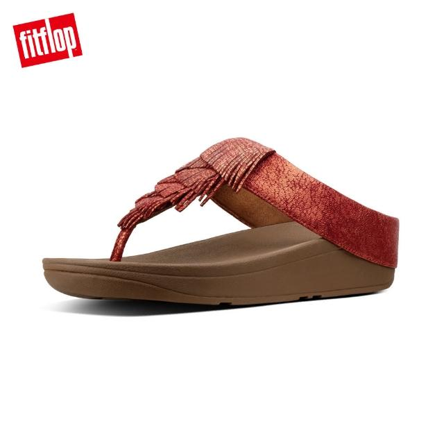 【FitFlop】CHA CHA FRINGE LEATHER TOE-THONGS(火焰紅)