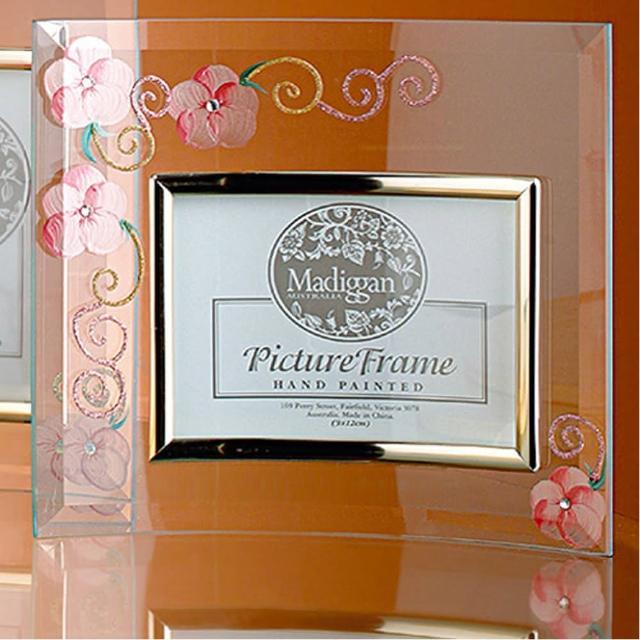 【Madiggan貝斯麗】玫瑰手工彩繪橫式玻璃相框(粉紅.紫色.金黃三色任選)/