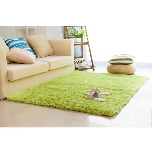 【幸福揚邑】舒壓長毛羊絲絨超軟防滑吸水地墊地毯-青綠(140x200cm)/