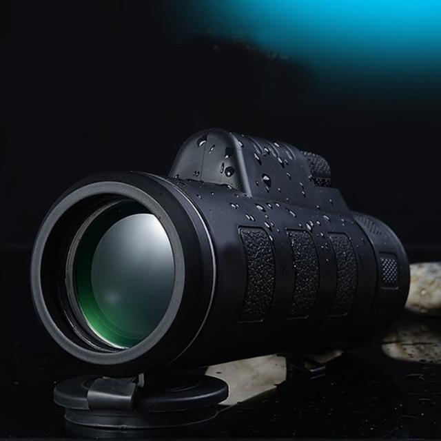 高清大目鏡雙調焦40X60微光夜視單筒望遠鏡(附三角架與手機夾)/