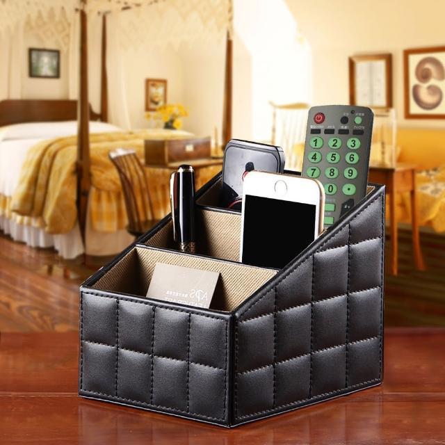 【幸福揚邑】精品歐式方格紋皮革遙控器化妝品飾品三格桌面收納盒(時尚黑)/