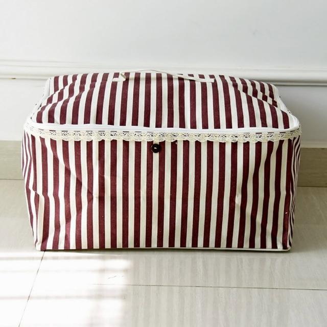 【收納職人】衣物棉被大容量防水防塵袋收納袋50L-紅白條/
