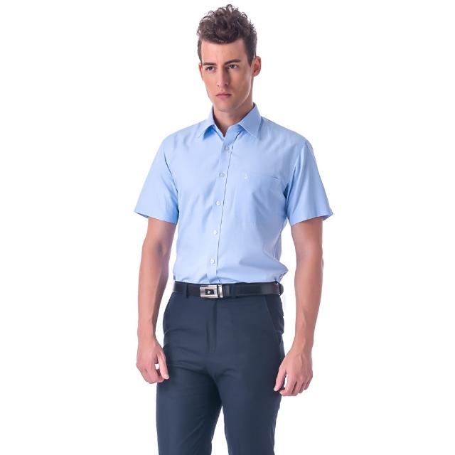 【金安德森】藍色斜紋窄版短袖襯衫-fast/