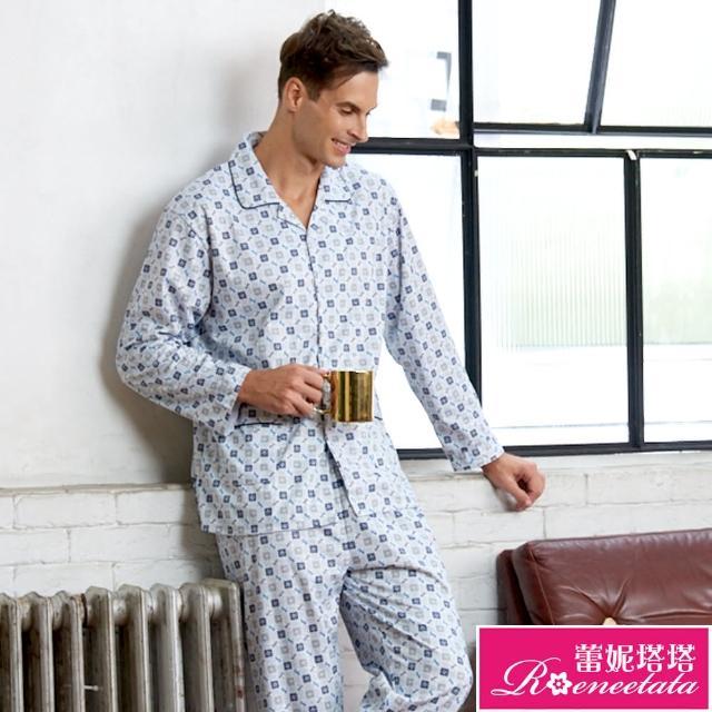 【蕾妮塔塔】針織棉男性長袖褲裝睡衣(R88221-10灰藍格紋)/