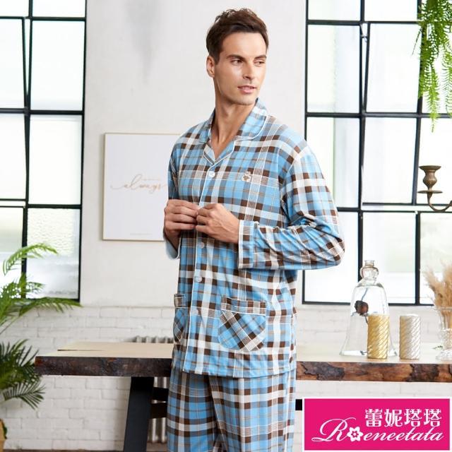 【蕾妮塔塔】針織棉男性長袖褲裝睡衣(R88211-5格紋小熊)/