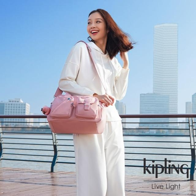 【KIPLING】玫瑰石英粉多層實用手提側背包-DEFEA/