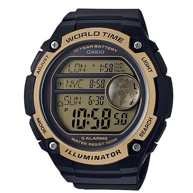 【CASIO】10年電池金屬色系數位腕錶(AE-3000W-9A)