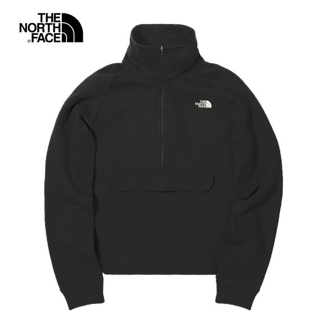 【The North Face】The North Face北面UE女款黑色半開襟立領長袖上衣|4UA5JK3