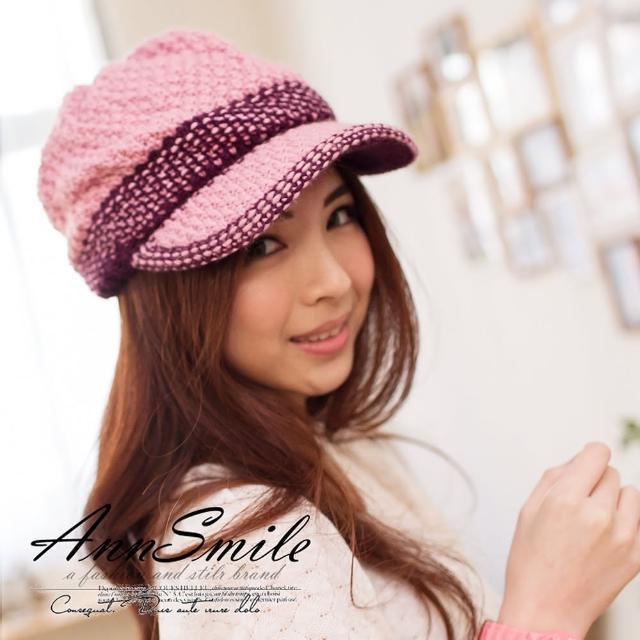 【微笑安安】MIT小花綴邊細緻織紋帽簷款毛帽(5色)