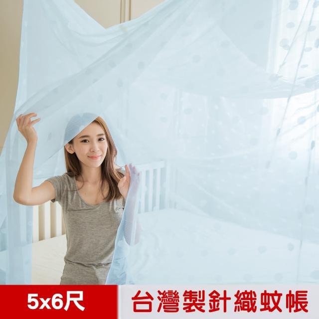 【凱蕾絲帝】100%台灣製造-大空間專用雙人5尺針織蚊帳-開單門(粉藍)