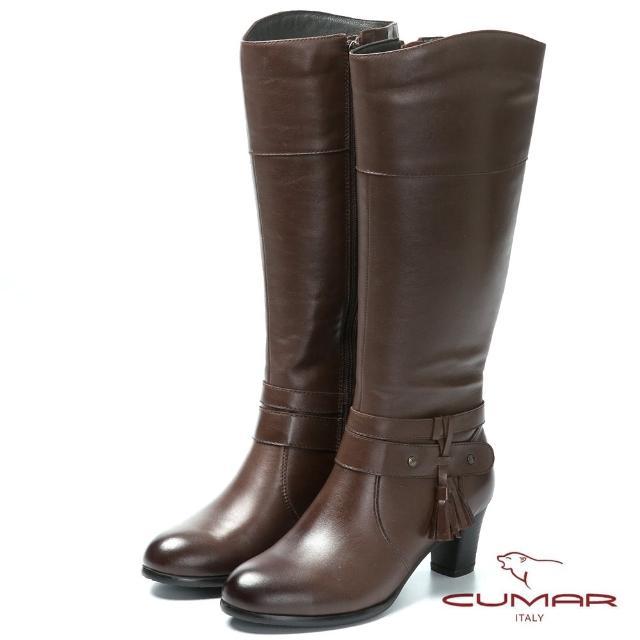 【CUMAR】時尚品味-流蘇設計真皮高跟長靴(咖啡色)
