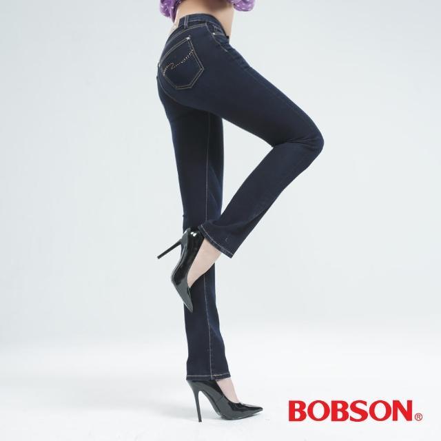 【BOBSON】超彈力小直筒褲(深藍8035-52)