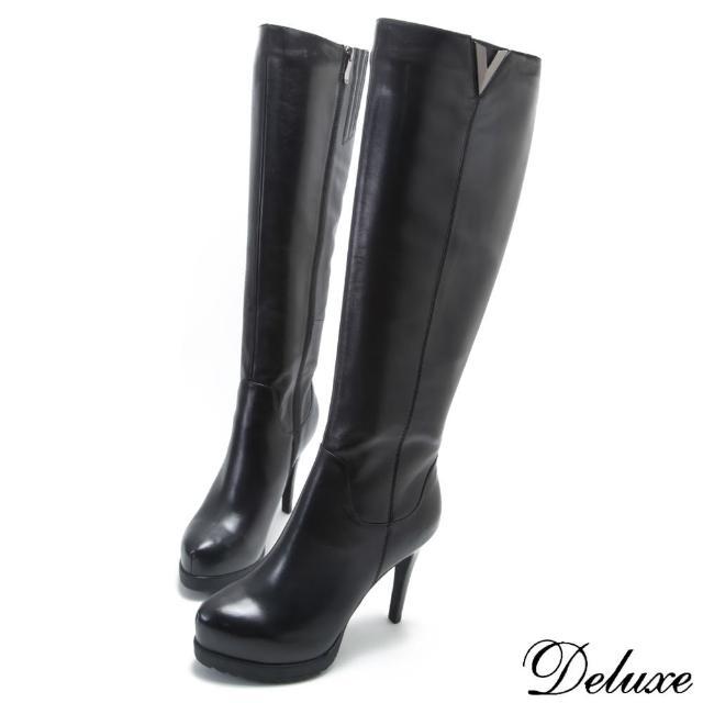 【Deluxe】真皮V型剪裁都會女郎高跟長靴(黑)