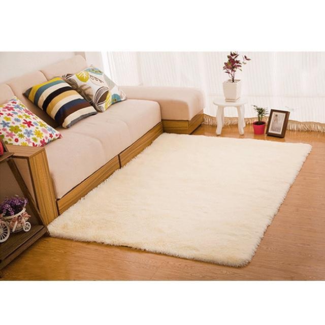 【幸福揚邑】舒壓長毛羊絲絨超軟防滑吸水地墊地毯-米黃(80x160cm)
