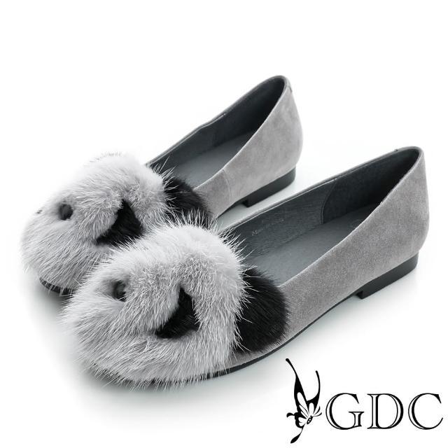 【GDC】百搭-熊貓造型絨布面真皮平底娃娃鞋-灰色(724002)
