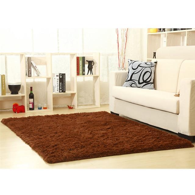 【幸福揚邑】舒壓長毛羊絲絨超軟防滑吸水地墊地毯-咖啡(80x160cm)