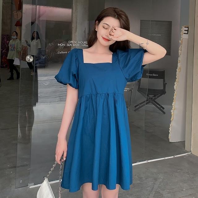 【Dorri】元氣少女藍色甜美方領泡泡袖連衣裙S-XL