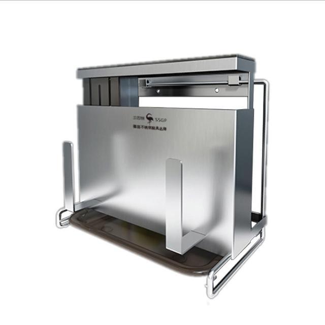 【PUSH!】廚房用品不銹鋼壁掛式免打孔刀具菜刀筷子籠鍋蓋砧板一體(收納架D253)
