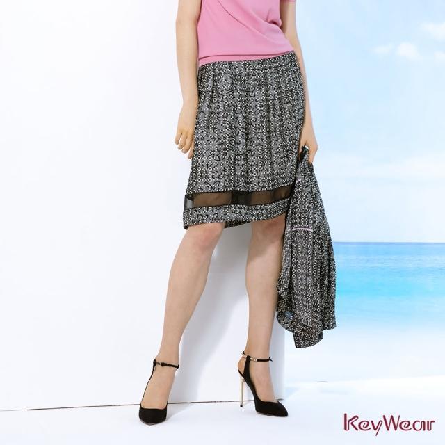 【KeyWear 奇威名品】烏干紗跳色合褶中庸裙