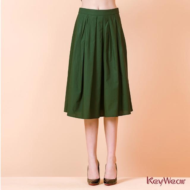 【KeyWear 奇威名品】簡約打褶設計微透感中長裙(共2色)