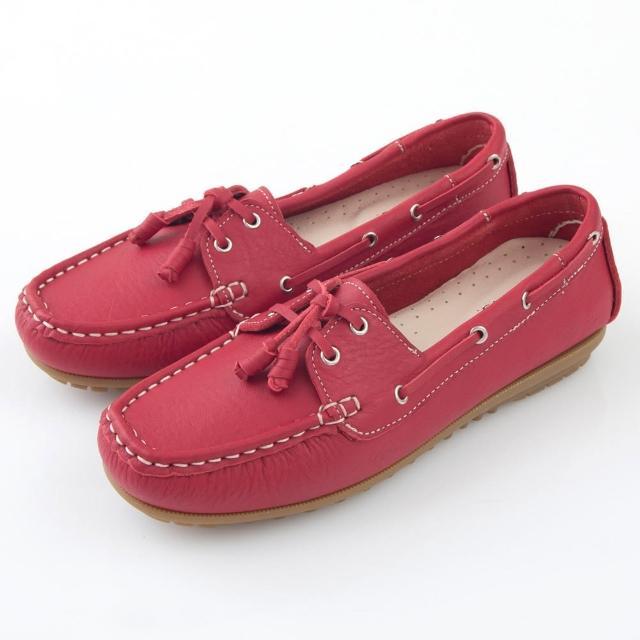 【G.Ms.】MIT情侶鞋系列-水洗牛皮帆船鞋(亮麗紅)