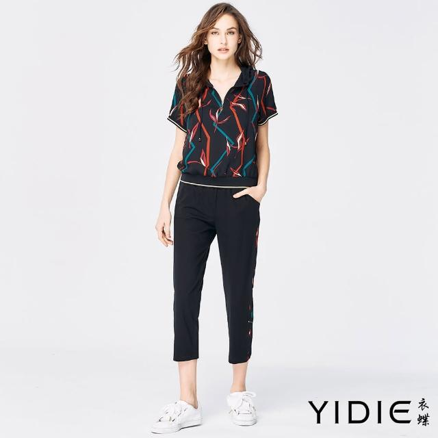 【YIDIE 衣蝶】植物圖案連帽抽繩八分褲套裝-黑(上下身分開販售)