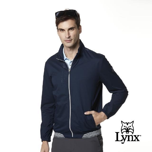 【Lynx Golf】korea 男款透氣沖孔設計拉鍊口袋長袖外套(深藍色)