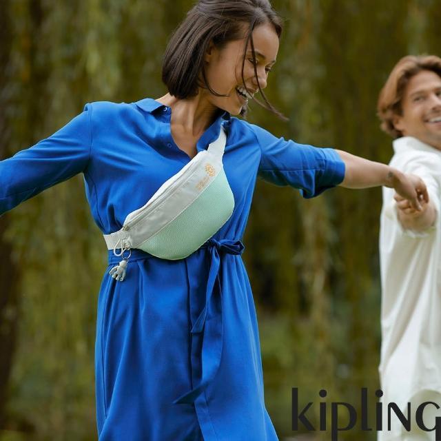 【KIPLING】清新薄荷綠拼接網點潮流隨身腰包-FRESH