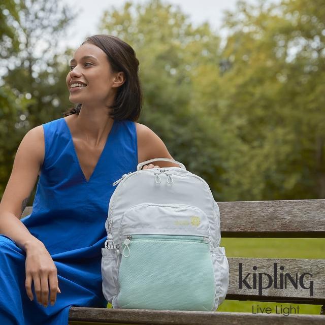 【KIPLING】清新薄荷綠拼接網點機能手提後背包-SEOUL