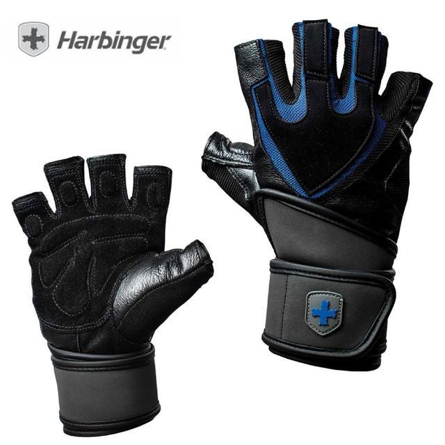 【HARBINGER】Training Wristwrap Men Gloves(重訓/健身用專業手套 1250 黑/藍)