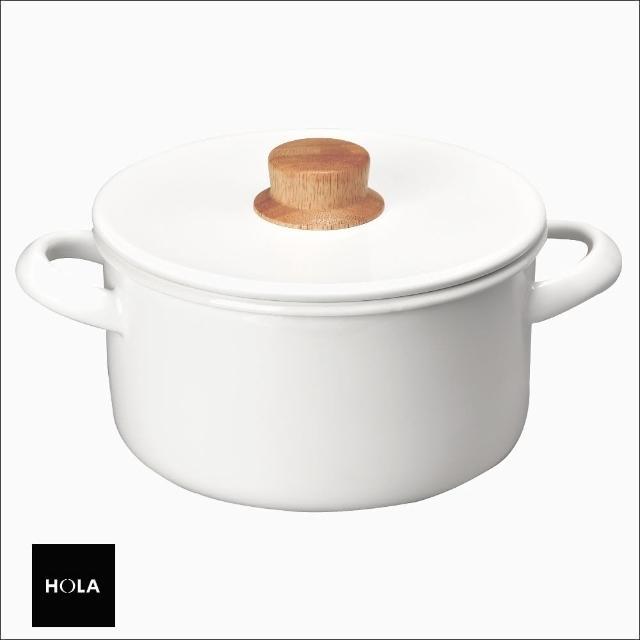【HOLA】琺瑯雙耳湯鍋20cm 白琺瑯 天然原木柄 不染色 易清潔