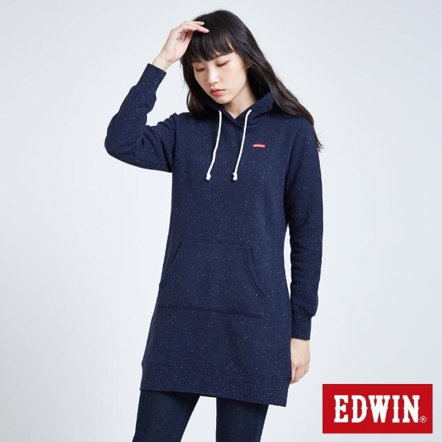 【EDWIN】長版小白點刷毛帽T-女款(丈青色)