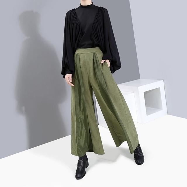 【CLORI】文藝復古高腰寬鬆抓皺闊腿褲-F(共兩色)