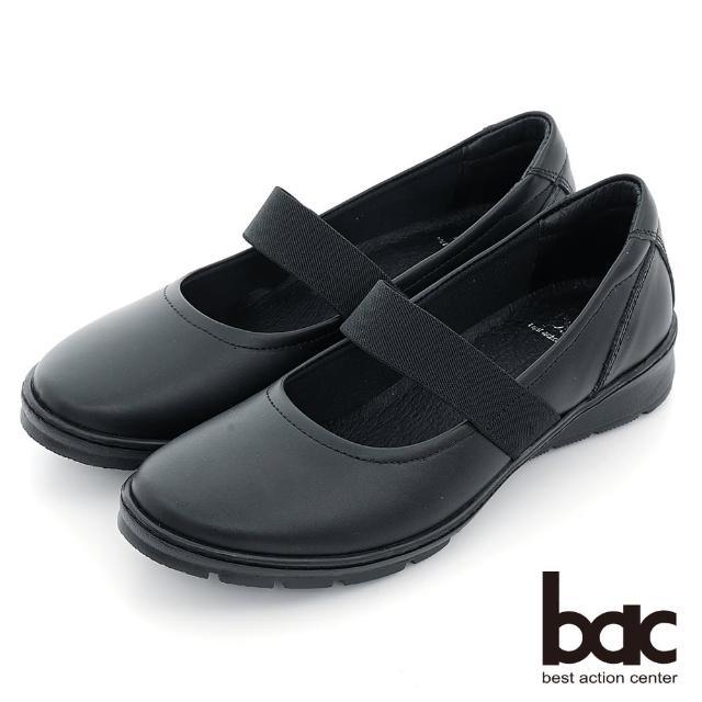 【bac】輕量化底台彈性織帶平底娃娃鞋(黑色)