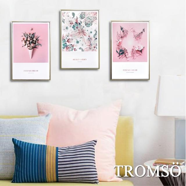 【TROMSO】北歐生活版畫有框畫三幅一組-粉紅花藝WA95(有框畫掛畫掛飾)