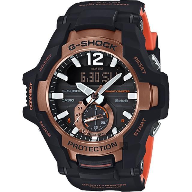【CASIO 卡西歐】G-SHOCK 飛行員太陽能藍牙手錶-橘(GR-B100-1A4)