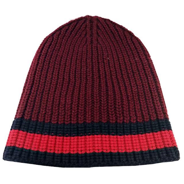 【GUCCI 古馳】429753 條紋針織毛帽(紅x藍色 M號)