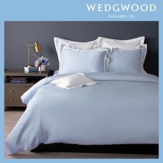 【WEDGWOOD】100%天絲床包兩用被套枕套四件組-簡約灰藍(雙人)
