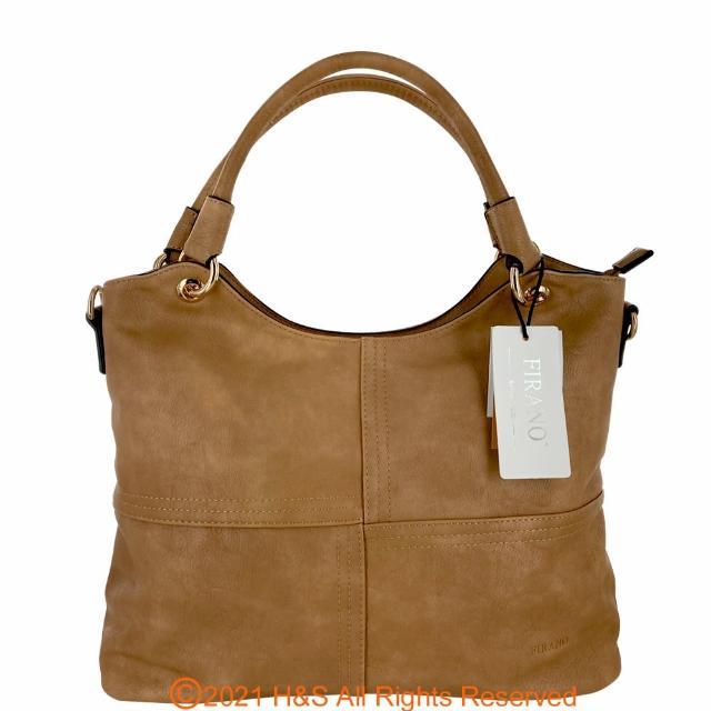 【FIRANO】U型壓印皮革手提斜背包 附化妝包&零錢包(鍺石棕 母親節優惠)