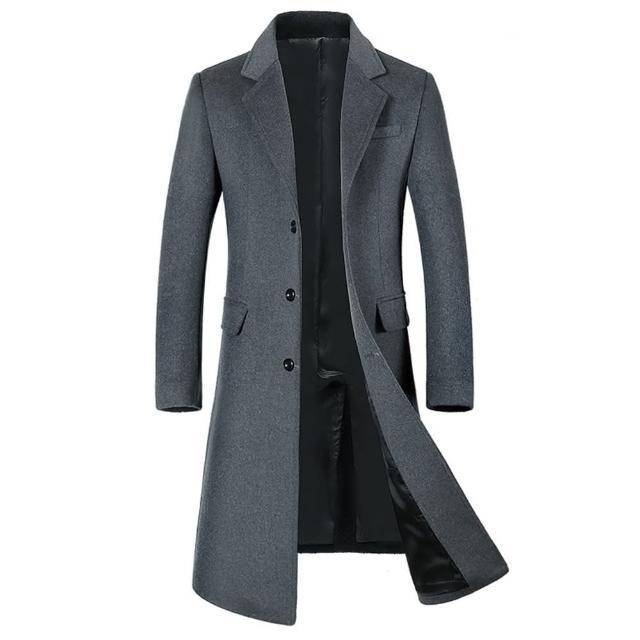【米蘭精品】毛呢外套長版大衣(羊毛翻領簡約單排扣男外套4款73yu7)