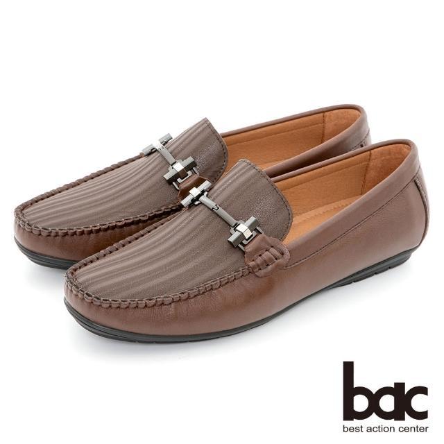 【bac】都會時尚 帥氣壓紋真皮帆船鞋(咖啡色)